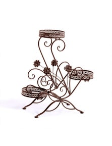 Levede Flower Shape Metal Plant Stand with 3 Plant Pot Space