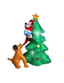 Inflatable Santa Dog and Christmas Tree