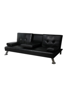 Levede 3 Seater Leather Fabric Lounge Futon Recliner Couch