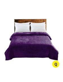 DreamZ 320 GSM Heavy Duty Soft Blanket 220x240cm in Aubergine Colour