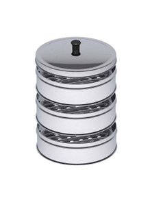 SOGA SS Steamers 3 Tier With Lid 28cm