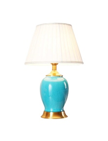 SOGA Ceramic Oval Table Lamp with Gold Metal Base Blue
