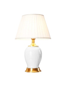 SOGA Ceramic Oval Table Lamp with Gold Metal Base White