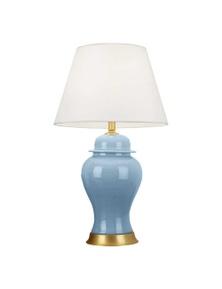 SOGA Ceramic Lamp with Gold Metal Base Blue