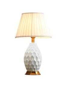 SOGA Ceramic Textured Lamp with Gold Metal Base White