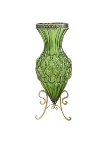 SOGA 65cm Green Glass Floor Vase with Metal Flower Stand