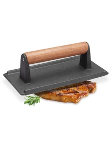 SOGA Cast Iron Press Grill BBQ with Wood Handle