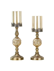 SOGA Glass Metal Candle Holder with Candle Set 42cm & 48cm