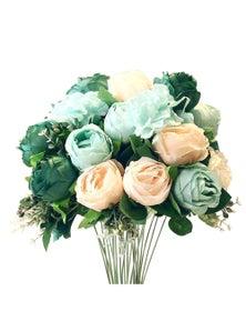 SOGA Artificial Silk with 15 Rose heads Bouquet 3pcs