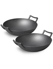 SOGA 32cm Commercial Cast Iron Wok FryPan with Dble Handle 2pack