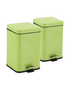 SOGA SS Foot Pedal Waste Bin Square 6L 2pack