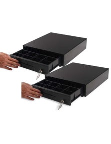 SOGA Black Heavy Duty Cash Drawer Manual Pos 350 2pack