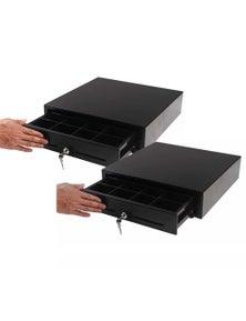 SOGA Black Heavy Duty Cash Drawer Manual Pos 410 2pack