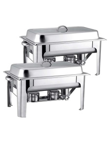 SOGA 9L SS Chafing Catering Dish Food Warmer 2 pack