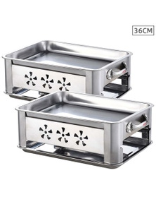 Benser 36CM Portable SS Outdoor Grill Chafing Dish 2pack