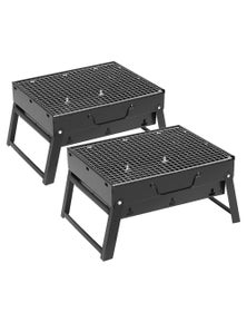 SOGA Portable Mini Folding Charcoal Grill Outdoor BBQ 2pack