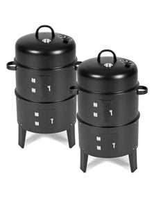SOGA 3 In 1 Barbecue Smoker Outdoor Charcoal BBQ 2pack