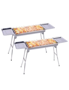 SOGA SS Portable SS Charcoal BBQ with Side Tray 2pack