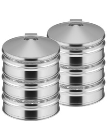 SOGA SS Steamers 3 Tier With Lid 28cm 2pack