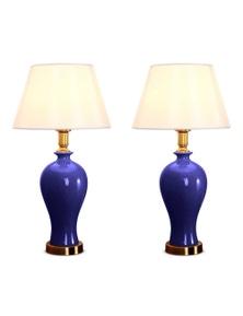 SOGA Blue Ceramic Lamp with Gold Metal Base 2pack