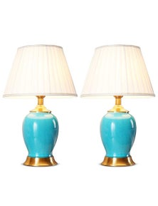 SOGA Ceramic Oval Lamp with Gold Metal Base Blue 2pack