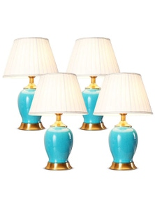 SOGA Ceramic Oval Lamp with Gold Metal Base Blue 4pack