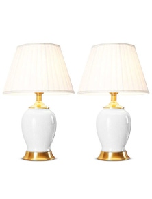 SOGA Ceramic Oval Lamp with Gold Metal Base White 2pack