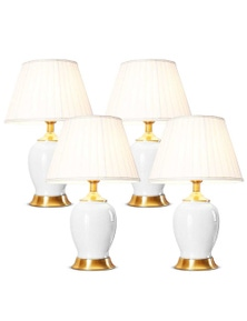 SOGA Ceramic Oval Lamp with Gold Metal Base White 4pack