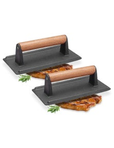 SOGA Cast Iron Press Grill BBQ with Wood Handle 2pack
