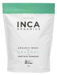 INCA Organics 1kg Whey Protein Powder- Coconut