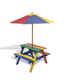 Kids Picnic Table & Benches With Parasol In Four Colours