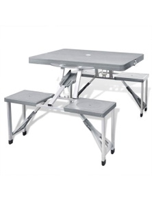 Foldable Camping Table Set With 4 Stools Aluminum Light