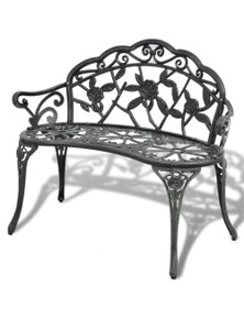 Garden Bench Green Cast Aluminum