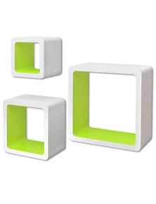 3-Green Floating Wall Display Shelf Storage
