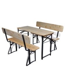 Beer Table With 2 Benches Fir Wood Foldable