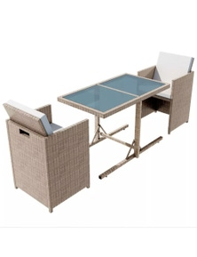 Outdoor Dining Set Poly Rattan/Beige Seven Pieces
