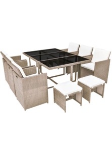 Outdoor Dining Set 27 Pieces/Beige Poly Rattan