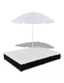 Sunlounger With Umbrella Poly Rattan