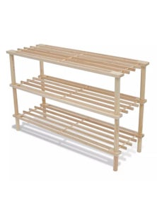 Wooden Shoe Rack 3-Tier Shoe Shelf Storage 2 Pieces