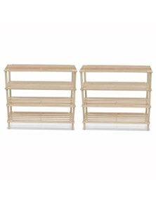 Wooden Shoe Rack 4-Tier Shoe Shelf Storage 2 Pieces