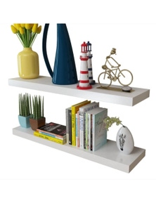 White Floating Wall Display Shelves Book/DVD Storage 2 Pieces