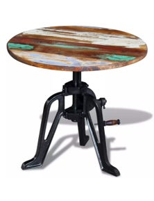 Side Table Solid Reclaimed Wood Cast Iron