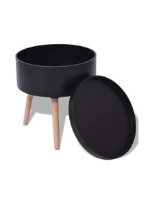 Side Table With Serving Tray Round
