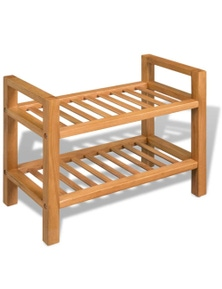Shoe Rack With 2 Shelves Solid Oak