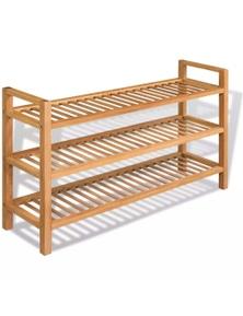 Shoe Rack With 3 Shelves Solid Oak