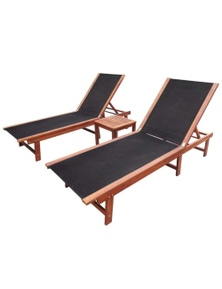 Sun Lounger Set 3 Pieces Acacia Wood