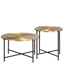 2 Pieces Brass-Cove Table Set