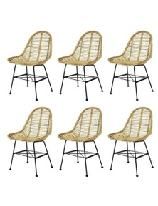 6 Pieces Natural Rattan Dining Chairs