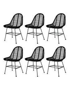 6 Pieces Rattan Dining Chairs