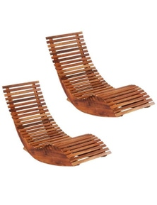 Acacia Wood Rocking Sun Loungers 2 Pieces